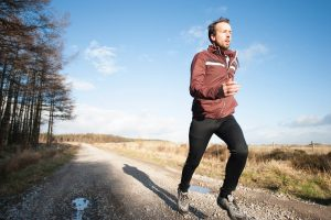 man running in heart rate zone